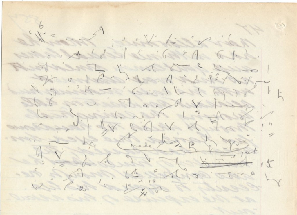 Shorthand writing found on back of memoirs